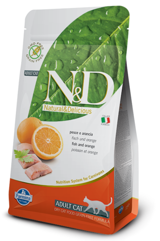 Сухой беззерновой корм Farmina N&D Grain Free Cat Fish&Orange Adult