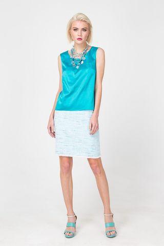 Фото голубая мини-юбка прямого силуэта - Юбка Б120-176 (1)