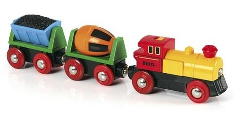 BRIO Грузовой поезд с бетономешалкой и грузом (на батарейках)