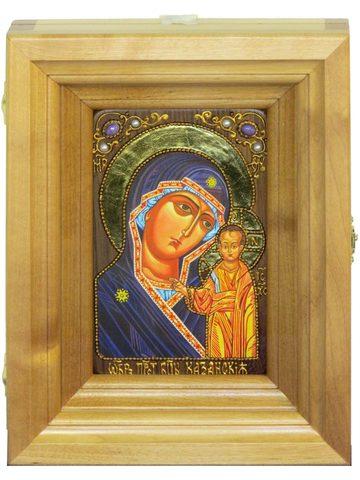 Подарочная икона Казанской Божией Матери с нимбом из сусального золота 15х10см в березовом киоте