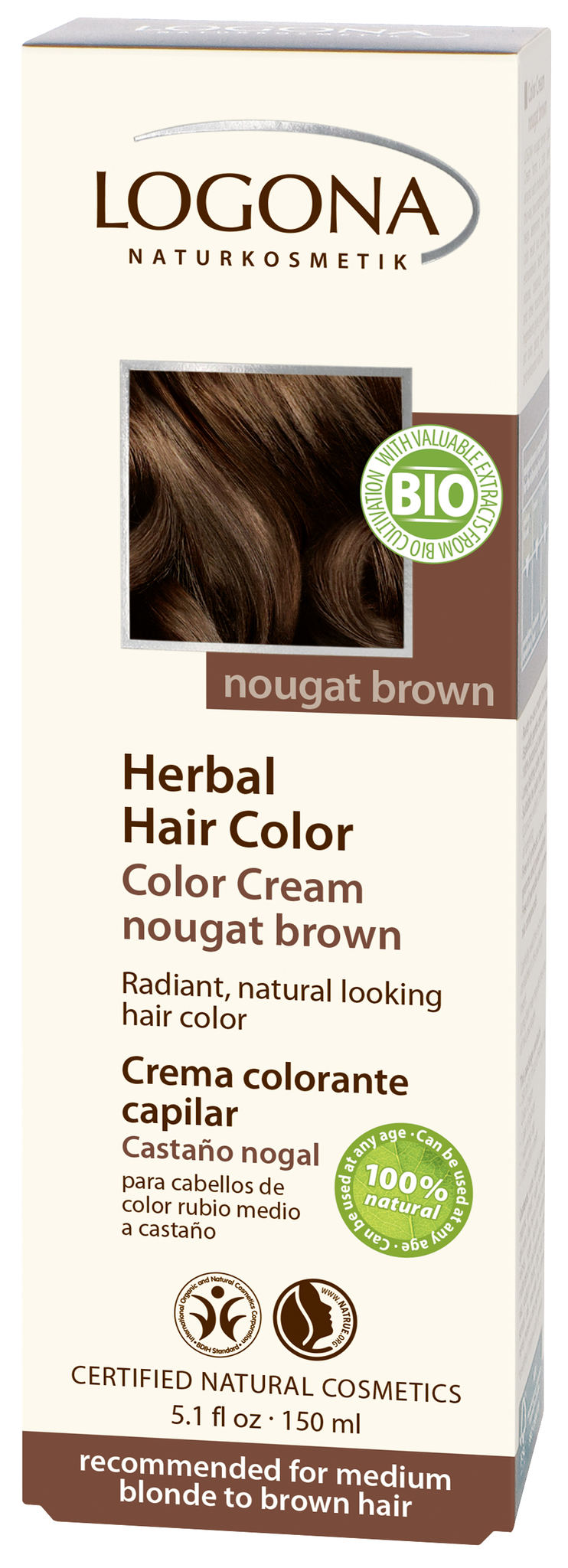 LOGONA Крем-краска для волос «КОРИЧНЕВАЯ НУГА»
