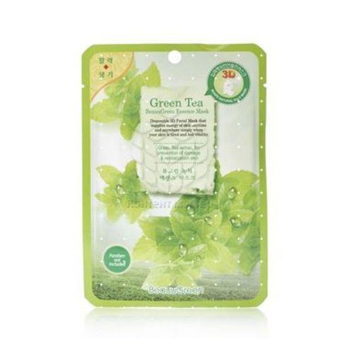 FoodaHolic 3D Маска с натуральным экстрактом зеленого чая (ткан.) 23г
