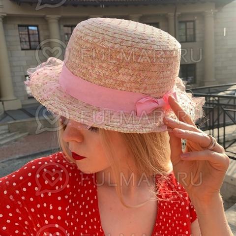 Соломенная канотье женская шляпа с розовой лентой сетка в горошек