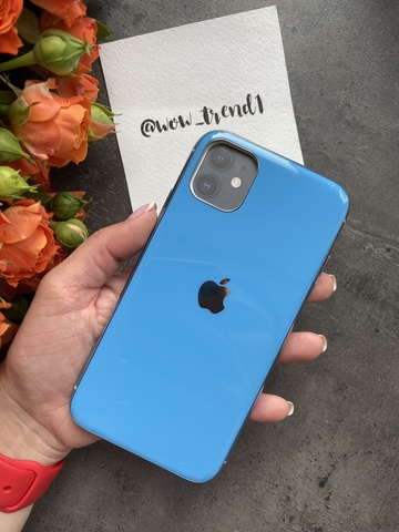 Чехол Iphone 11 Glass Silicone Case Logo /blue/