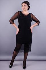 Аура. Элегантное женское платье плюс сайз. Черный.