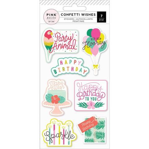 Стикеры объемные Confetti Wishes от Pink Paislee- 7 шт