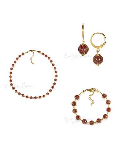 ожерелье, браслет, серьги коричневого цвета из муранского стекла