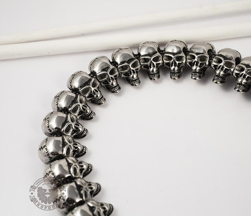 PM191 Очень крупная и массивная цепь из черепов (65 см) фото 04