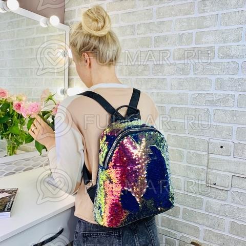 Большой рюкзак в двусторонних пайетках для девочки (цвет: Хамелеон-Синий)