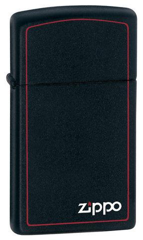 Зажигалка Zippo Slim Black Matte Logo Border, латунь/сталь, чёрная с фирменным логотипом123