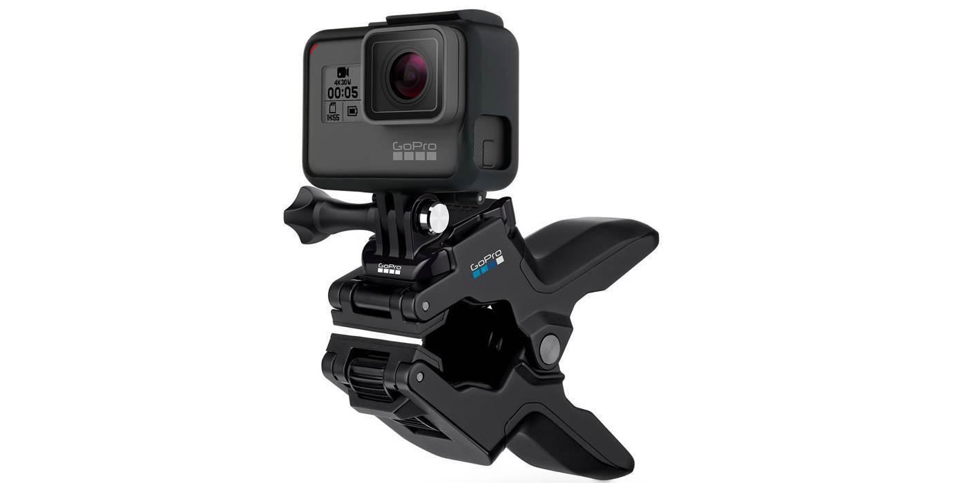 Прищепка GoPro Jaws: Flex Clamp (ACMPM-001) с камерой без удлинителя