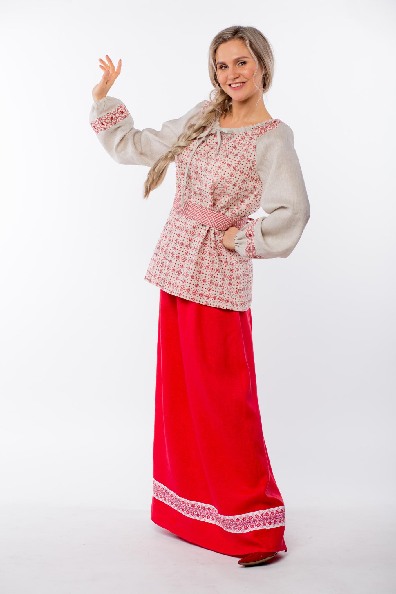 Блуза льняная Макошь на сером в русском стиле