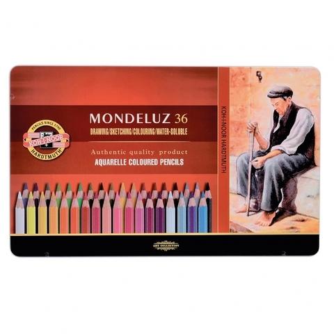 Набор акварельных цветных карандашей Koh-I-Noor 3725 Mondeluz в жестяной упаковке, 36 цветов