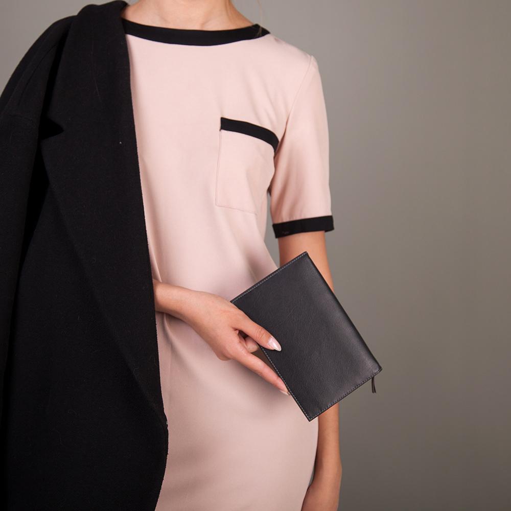 Длинный кошелек Secret Easy из натуральной кожи теленка, черного цвета