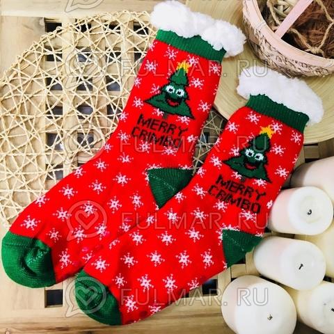 Новогодние носки домашние женские Весёлые Ёлка Merry Crimbo (цвет: красный-зелёный)