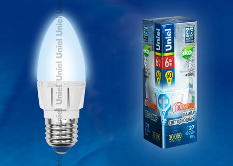 LED-C37-6W/NW/E27/FR/DIM ALP01WH Лампа светодиодная диммируемая. Форма