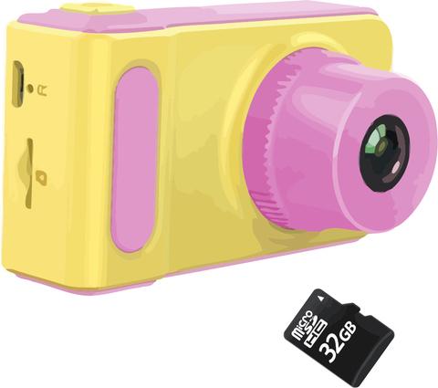 Детский цифровой фотоаппарат Kids Camera Summer Vacation розовый