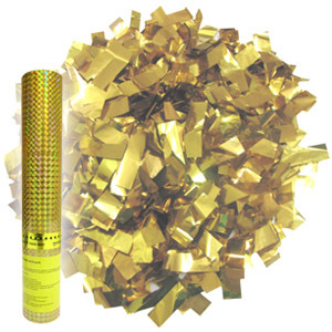Пневмохлопушка в пластиковой тубе Золотое конфетти 30см
