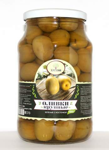 Оливки зеленые с косточкой крупные Amado, 1020г