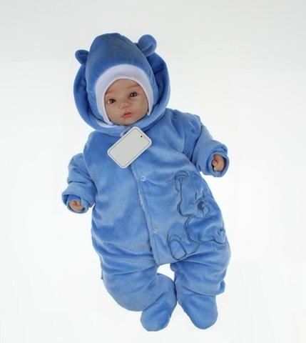 Комбинезон для малышей велюровый Мишутка голубой