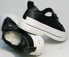 Весенние кеды элегантные туфли на низком каблуке El Passo sy9002-2 Sport Black-White.