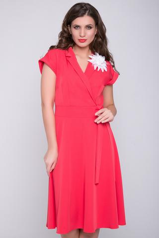 <p>Отличное платье для романтической дамы! Отложной воротничок. Юбка клёш, с имитацией пояса. Спущенное плечо с манжетом. (Цветок в стоимость не входит)<span>(Длина: 46-98см; 48-99см; 50-100см; 52-101см)</span></p>