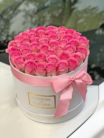 45 Розовых роз в коробке Maison Des Fleurs