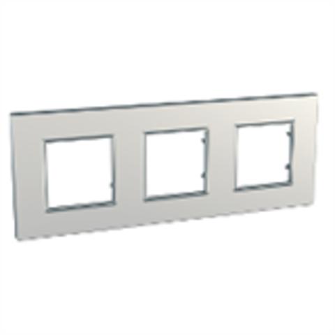 Рамка на 3 поста. Цвет Серебро. Schneider Electric Unica Quadro. MGU6.706.55