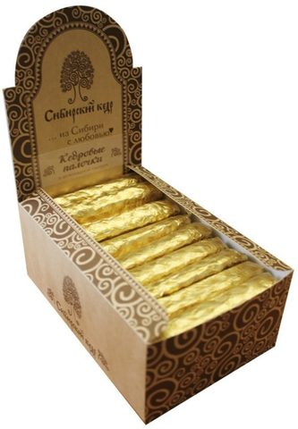 Конфеты Кедровые палочки в шоколадной глазури в шоу-боксе, Сибирский кедр