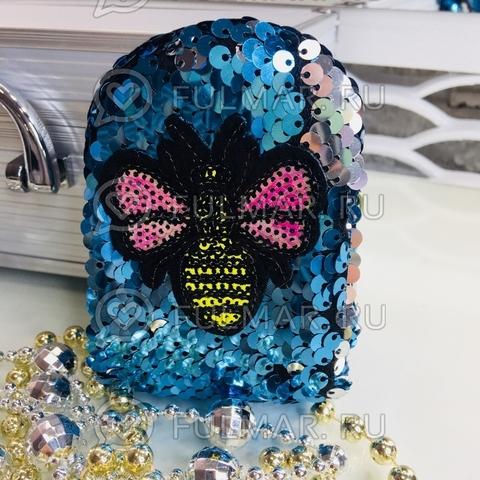 Ключница-брелок-кошелек для мелочи в двусторонних пайетках Пчёлка голубая-серебристая