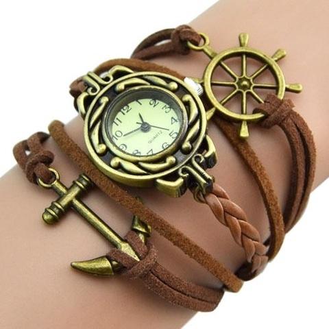 Часы-браслет с якорем и штурвалом (коричневые)