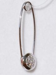 Брошь- булавка  из серебра с фианитами
