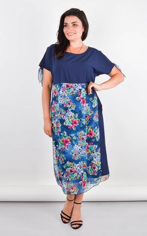 Лада. Изысканное платье больших размеров. Синий.