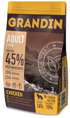 12 кг. Grandin Adult Large корм для взрослых собак крупных пород, с курицей
