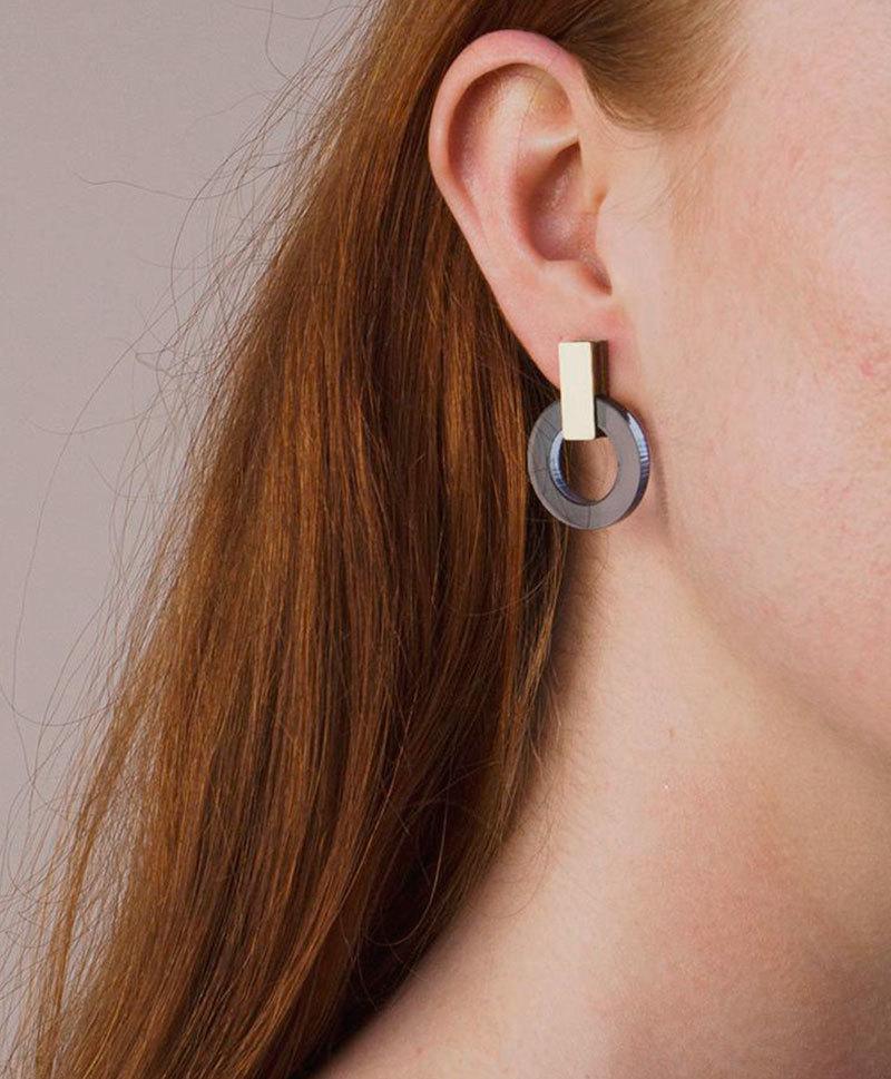 Серьги Orbit Earrings in Navy