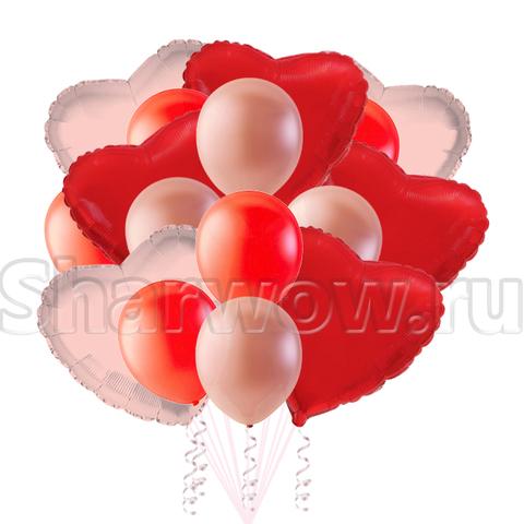 Букет воздушных шаров сердец розовый и красный