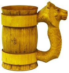 Кружка пивная деревянная WOOD&GOOD Lion с резной ручкой, 500 мл