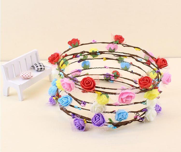 Картинка - Led Венок из Розовых цветков на голову светящийся