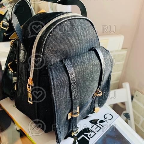 Рюкзак сияющий Чёрный с блёстками маленький