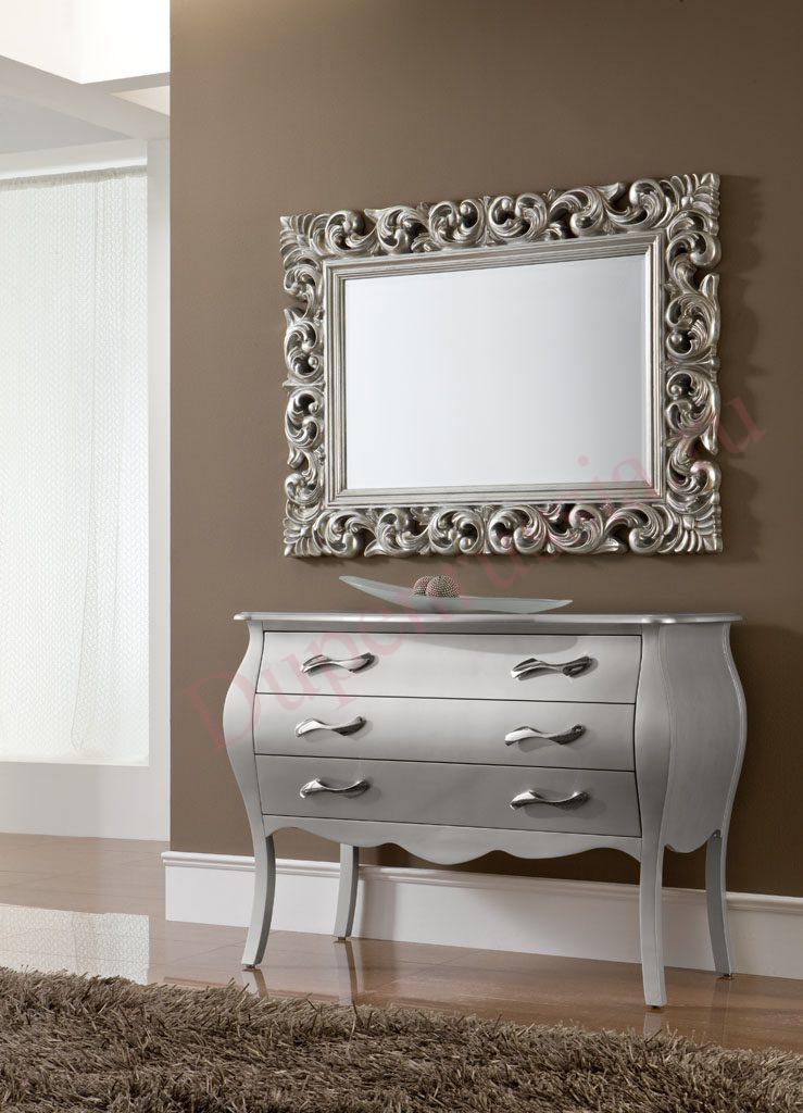 Зеркало DUPEN PU049 серебро (90*120), Комод Дюпен С-95 Серебро (только под заказ)