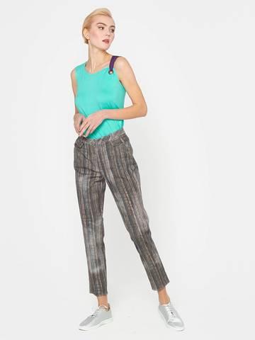 Фото стильные джинсовые зауженные брюки в полоску с потертостями и карманами - Брюки А449-376 (1)