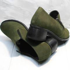Элегантные туфли на среднем каблуке женские демисезонные Miss Rozella 503-08 Khaki.
