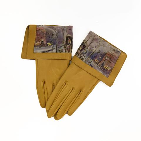 Кожаные перчатки Зимний Город - Горчичный