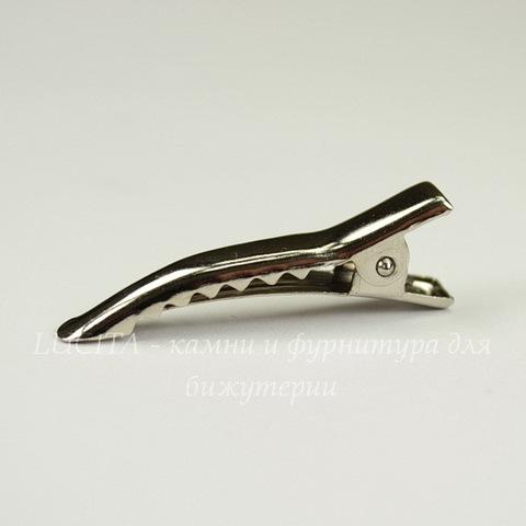Основа для заколки крокодильчик, изогнутая 35х6 мм (цвет - никель)