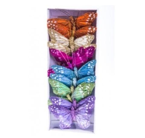 Набор бабочек с глиттером на прищепках из 12 штук, размер: 10 см