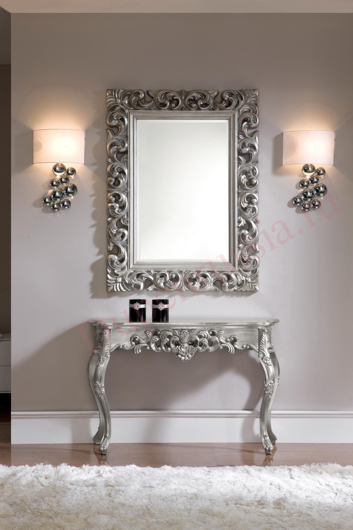 Зеркало DUPEN PU049 серебро (90*120), Консоль DUPEN К58 серебро