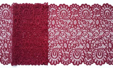 Эластичное кружево, темно-красный, 20 см, м