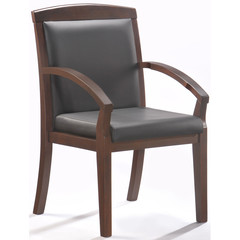 Конференц-кресло Easy Chair 421 KR черный (рециклированная кожа/темный орех)