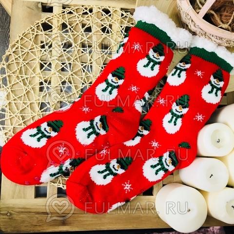 Новогодние носки домашние женские Снеговики (цвет: красный)