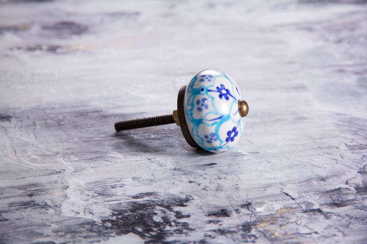 Ручка мебельная керамическая с сине-голубым орнаментом